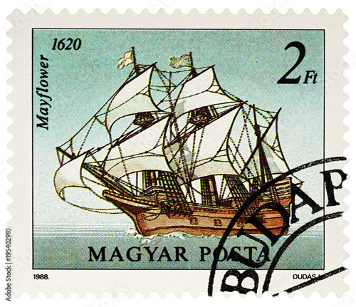 Photo Sailing ship Mayflower on postage stamp