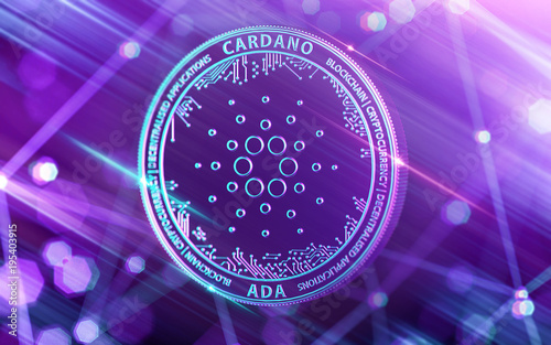 Neon glowing Cardano (ADA) in Ultra Violet colors with cryptocurrency blockchain nodes in blurry background Canvas Print