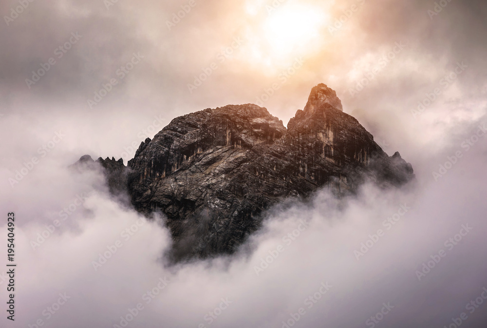 Fototapety, obrazy: Alpine landscape with mountain peaks in the Dolomites, Italy, Europe