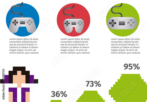 videogame data infographic with 8 bit illustrations 1 buy this
