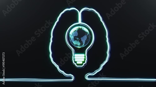 Photo  Brain with World in a Bulb Inside