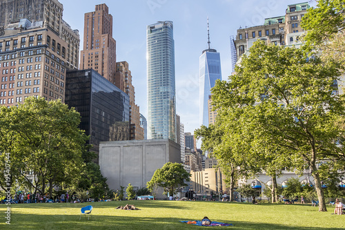 People relaxing at a public park in New York City Canvas Print