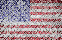Red White And Blue American Old Glory Flag. Rough Textured Metal Diamond Plate Background With American Flag Layered.