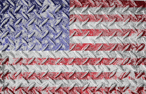 6b37f1007 Red white and blue american old glory flag. Rough textured metal diamond  plate background with