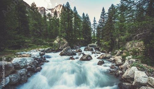 Obraz Alpine River in the Italy - fototapety do salonu