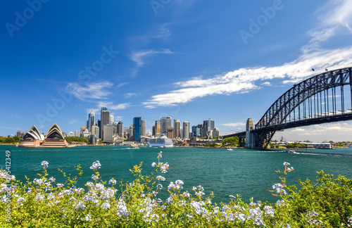 Staande foto Sydney Stunning wide angle city skyline view of the Sydney CBD harbour area at Circular Quay with the opera and the harbour bridge. Seen from Dr Mary Booth Lookout in Kirribilli, Sydney, Australia.