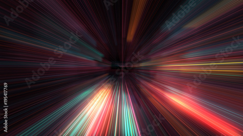 3D Futuristic abstract business and technology concept, Acceleration super fast motion blur of light ray for background design Canvas Print