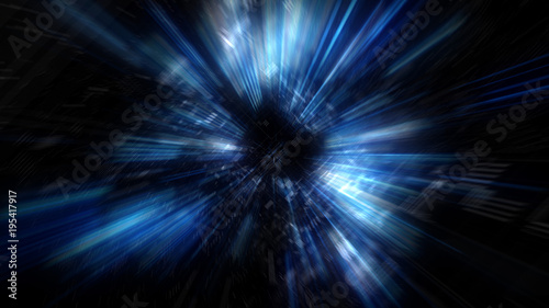 Fotomural  3D Futuristic abstract business and technology concept, Acceleration super fast motion blur of light ray for background design