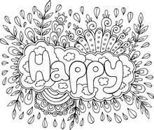 Coloring Page For Adults With Mandala And Happy Word. Doodle Lettering Ink Outline Artwork. Vector Illustration