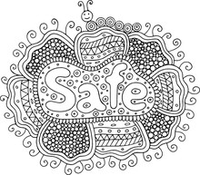 Coloring Page For Adults With Mandala And Safe Word. Doodle Lettering Ink Outline Artwork. Vector Illustration