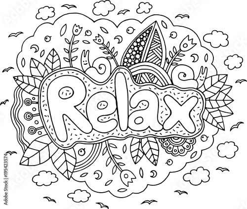 Coloring page for adults with mandala and relax word. Doodle lettering ink outline artwork. Vector illustration