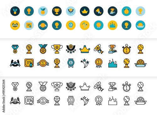 Fotografía  Black and color outline icons, thin stroke line style design