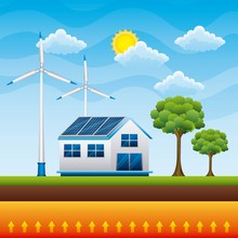 House Countryside Panel Solar Wind Tubines - Renewable Energy Vector Illustration