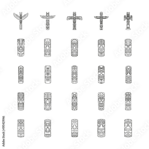 Totem icons set , outline style Fototapete
