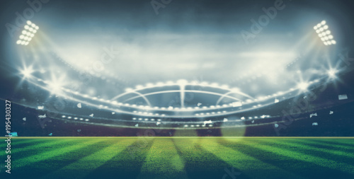 Fotografie, Obraz  lights at night and stadium 3d render,