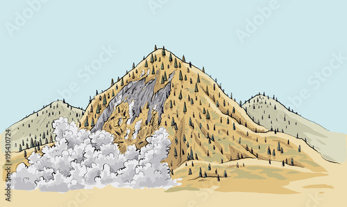 Printed kitchen splashbacks Light blue A cartoon landslide on a small mountain in the remote wilderness.