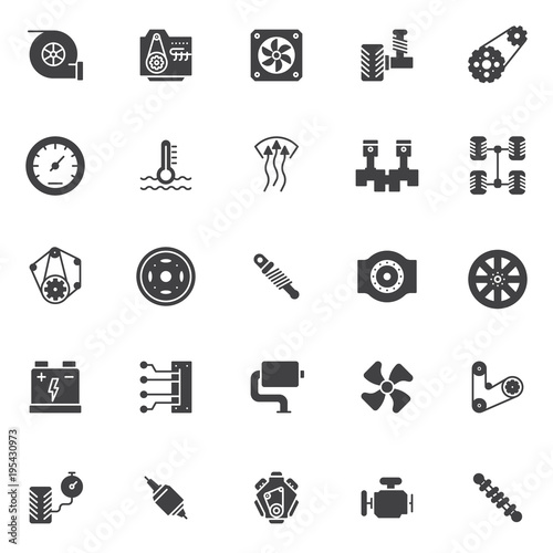 Meta Car Engine Elements Vector Icons Set Modern Solid