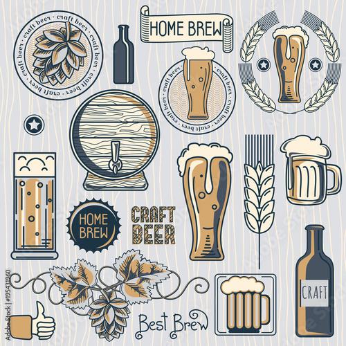 Set of craft beer emblems and design elements Wallpaper Mural