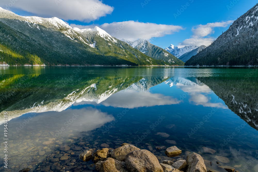 Fototapety, obrazy: Chilliwack Lake with the reflecting Mount Redoubt (Skagit Range Mountains) in the backround
