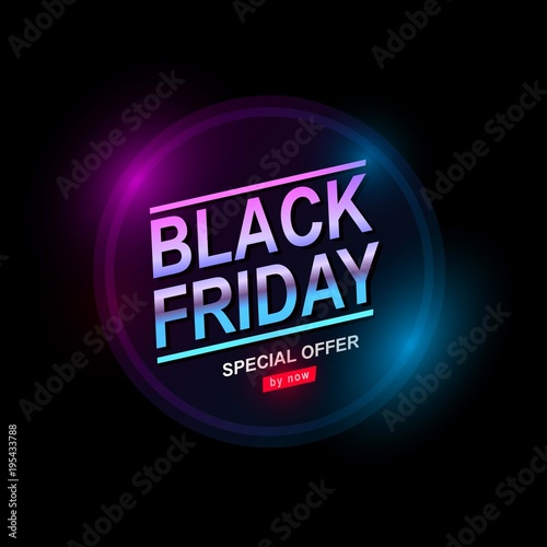 d12617be00 Black Friday, Big Sale, Neon light, signboard with discounts from gas tubes  of