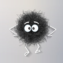 Fluffy Cute Black Spherical Cr...