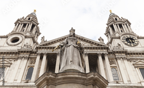 18th century St Paul Cathedral and statue of Queen Anne, London, United Kingdom Wallpaper Mural