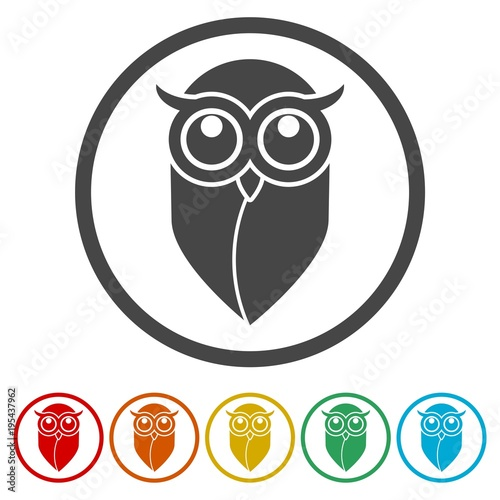 Photo Stands Owls cartoon Owl icon, Owl logo, Owl illustration, 6 Colors Included