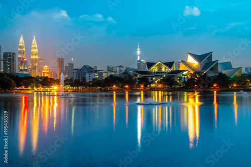 Photo Stands Kuala Lumpur, Malaysia. Sunset skyline from Titiwangsa Park.