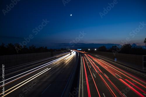 Foto op Aluminium Nacht snelweg night highway traffic
