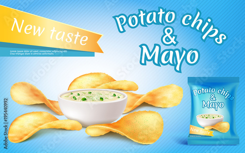 Vector promotion banner with realistic potato chips and mayo in bowl Canvas Print