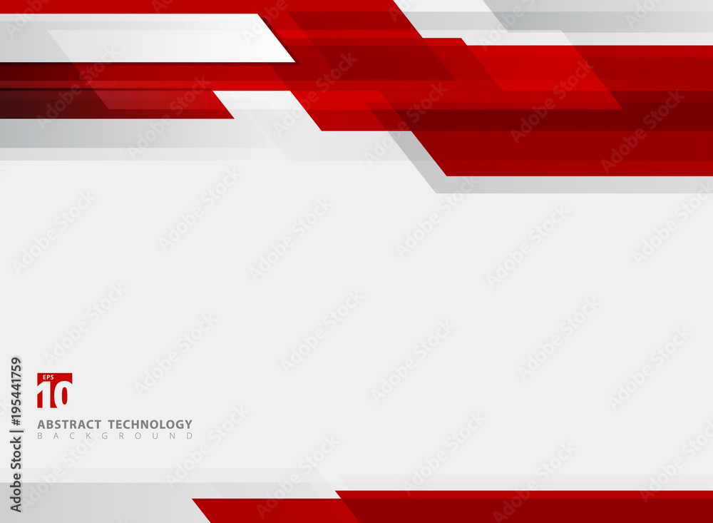 Fototapety, obrazy: Abstract technology geometric red color shiny motion background.