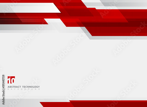 Fotografie, Obraz  Abstract technology geometric red color shiny motion background.