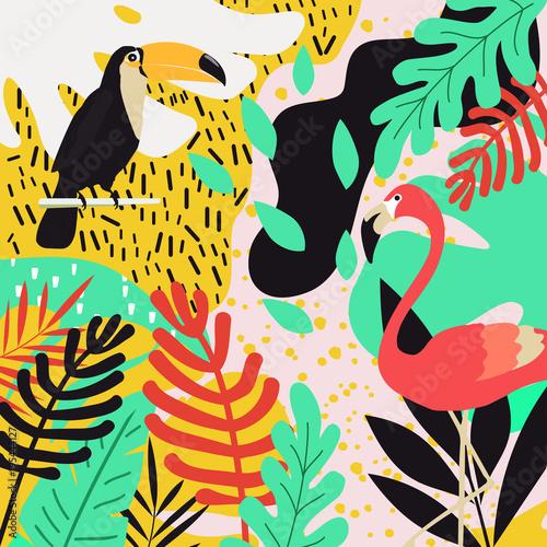 Obraz na płótnie Tropikalna dżungla  z flamingami