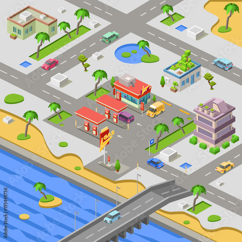 Gas station and city map isometric 3D vector illustration. Isometric on map print, map of louisiana and mississippi, map of spanish speaking world, map clipart, map making, map art, map of the south sewanee university, map infographic, map background, map design, map great britain, map of california and mexico, map key, map paper, map cartoon, map of belfast and surrounding areas, map of victoria, map books, map app, map travel,