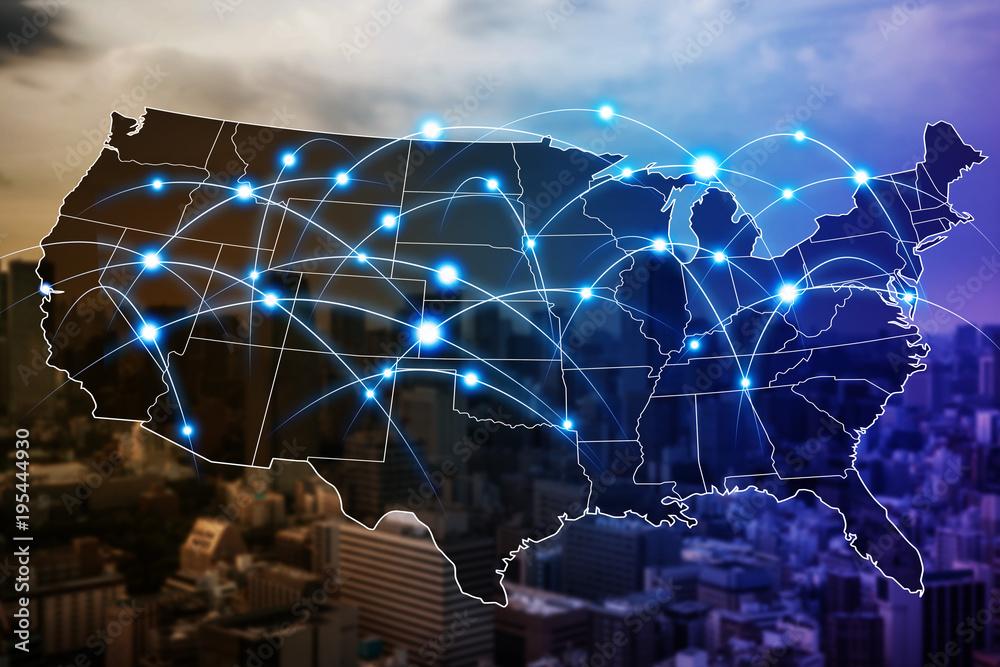 Fototapeta Communication network of United States of America.