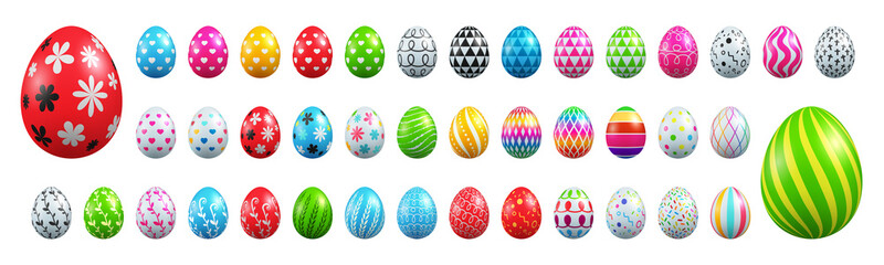 Set of Easter eggs collection on White background.Vector illustration EPS10