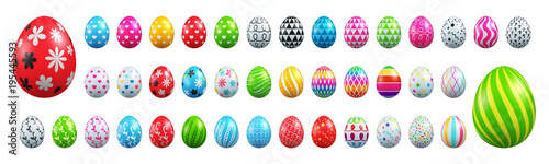 Photo  Set of Easter eggs collection on White background