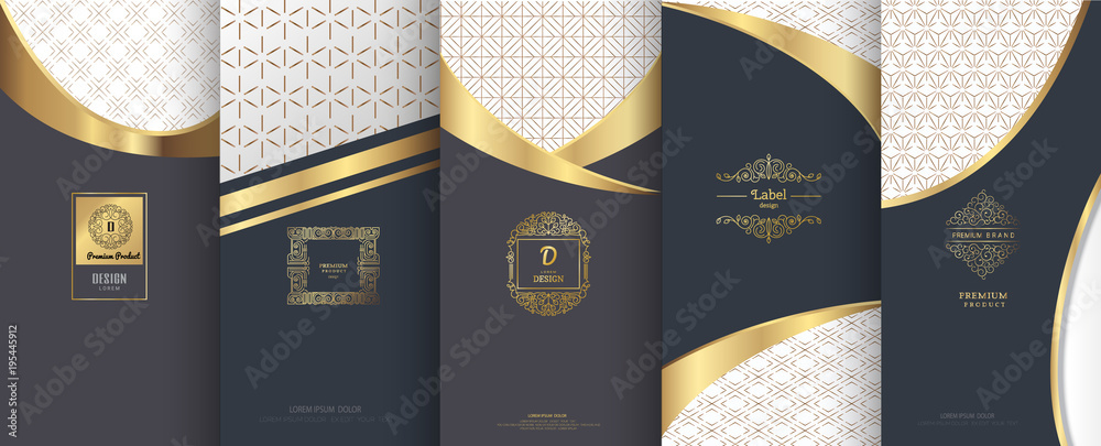 Fototapety, obrazy: Collection of design elements,labels,icon, frames, for packaging,design of luxury products.for perfume,soap,wine,lotion.Made with golden foil.Isolated on geometric background.vector illustration