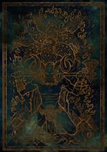 Zodiac Sign Aries On Blue Grun...