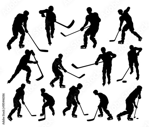 Sports Hockey Player Silhouettes Canvas Print