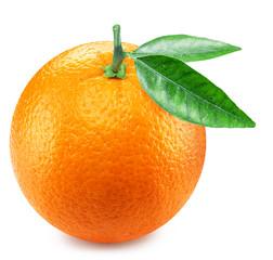 Ripe orange fruit with orange leaves.