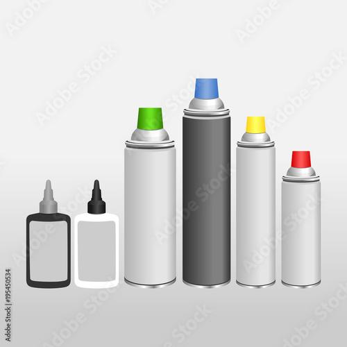 Fotografía  Blank aluminium spray can and oil for chain template
