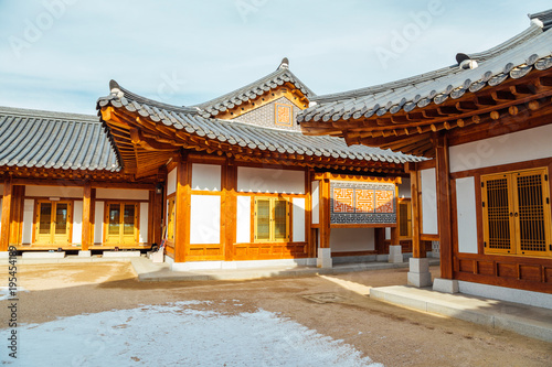 Korean traditional roofing tile house Poster