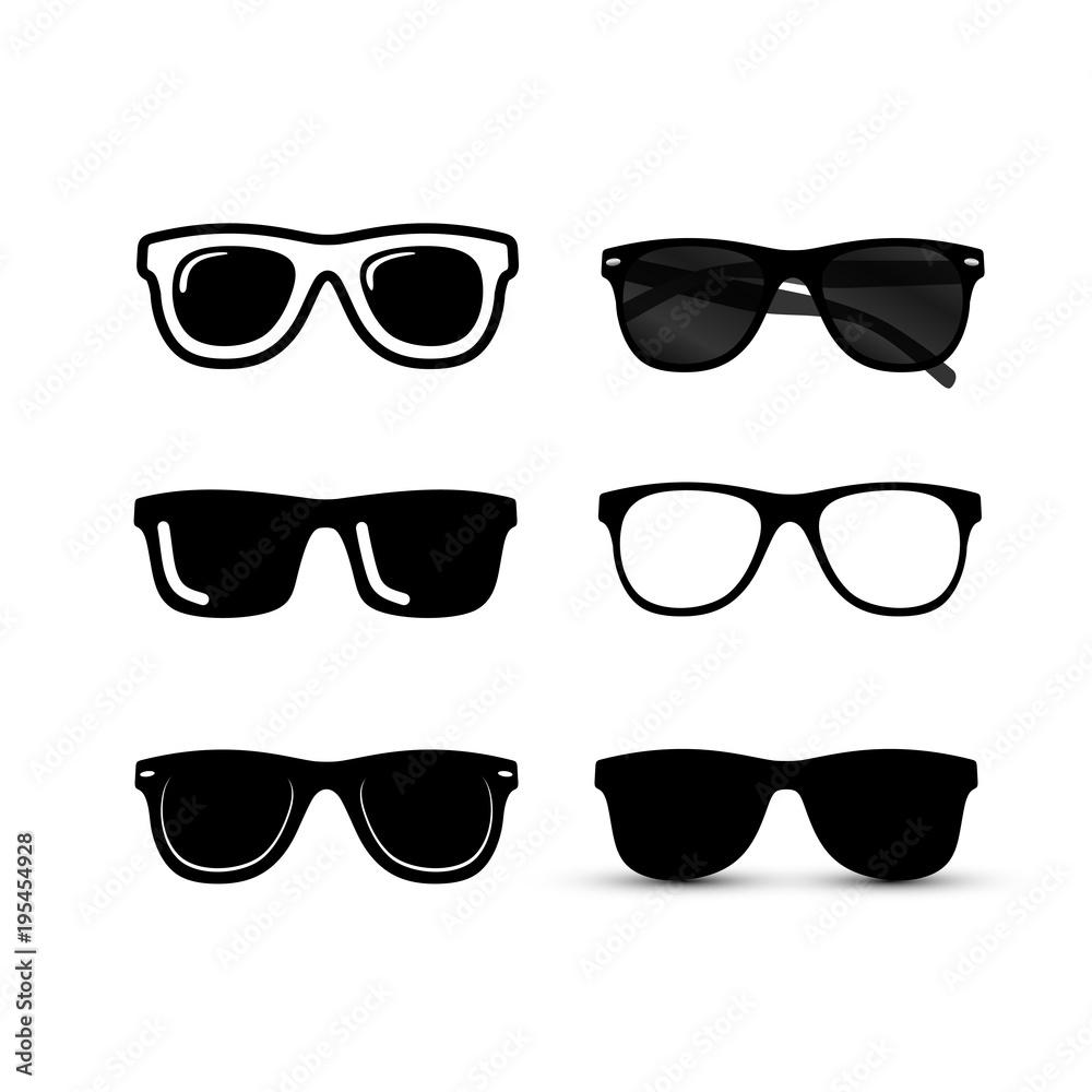 Fototapeta Set of Sunglasses icon. Vector illustration. Isolated on background