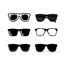 Set Of Sunglasses Icon. Vector...