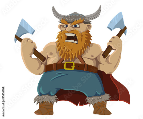 red-bearded viking screams Wallpaper Mural