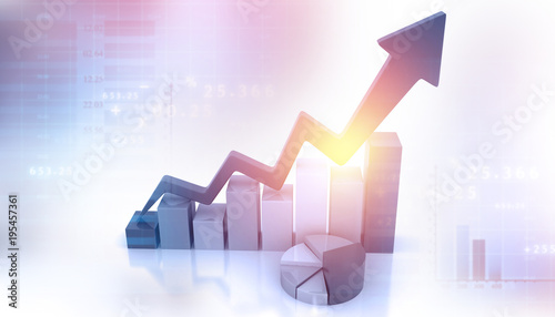 Fotomural  Business Graph showing profits and gains. 3d business background