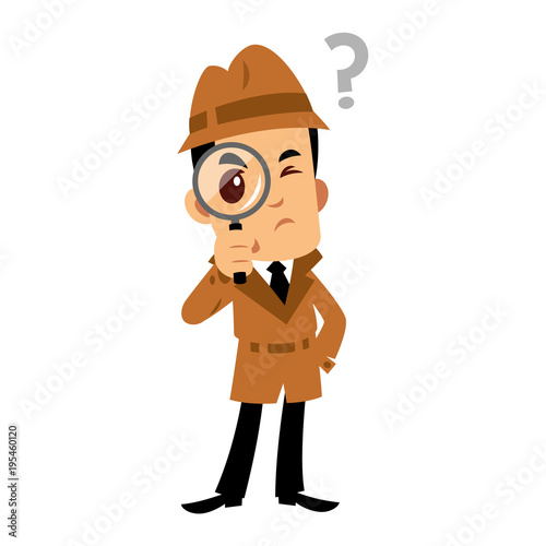 Fotografie, Tablou Vector drawing of a detective man, he has a doubt