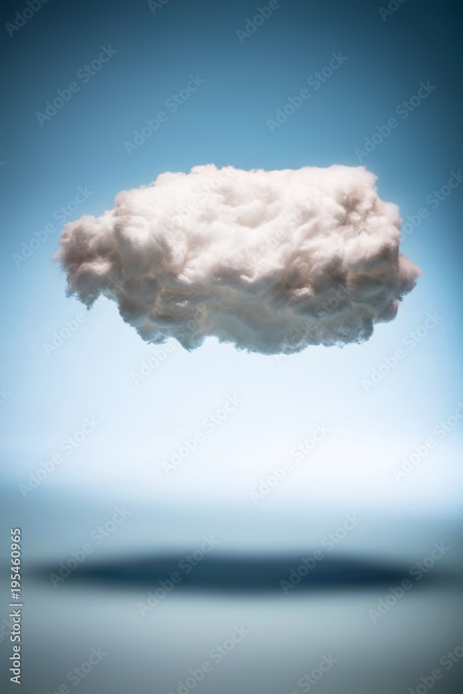 One cloud on a blue background.