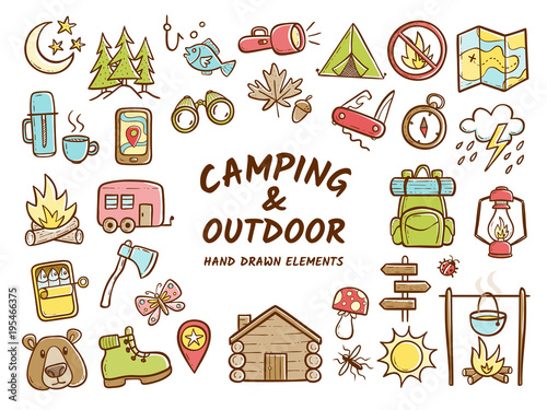 фотографія  Hand drawn camping and outdoor recreation elements, isolated on white background